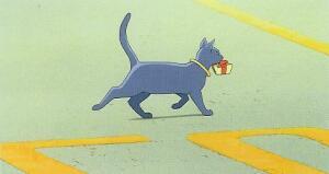 Cat Carrying a Parcel
